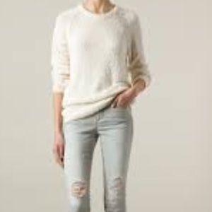 IRO Sweaters - IRO Distressed Fuzzy Knit Crewneck Sweater