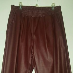Pleather Burgundy Sweatpants from Akira