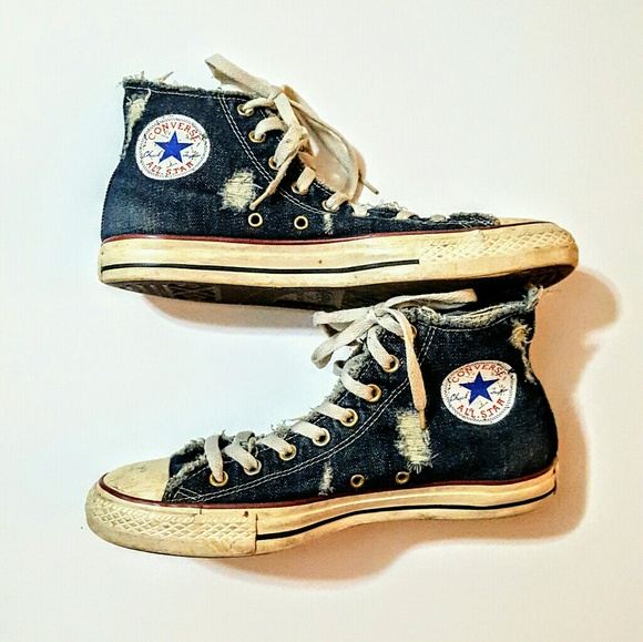 3a002b43c014 Converse Shoes - RARE Converse Distressed Denim High Top Sneakers