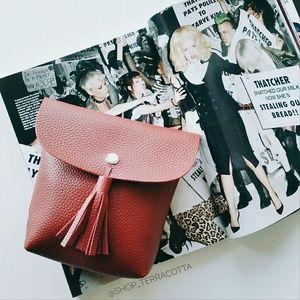 shop_terracotta Handbags - Vegan Leather Tassel Crossbody Bag - Red