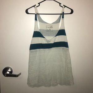 Teal Free People We the Free striped and lace tank