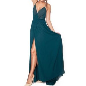 House of CB Maxime Evergreen Chiffon Maxi Dress