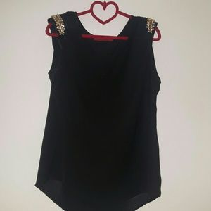 AKIRA Tops - Akira Black Sheer Top w. Detailed Shoulders