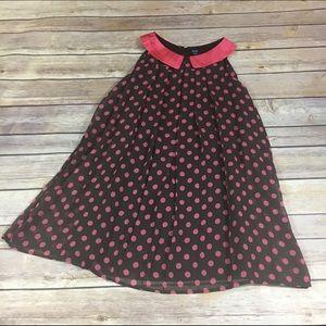 Gap Pink Brown Pleated Dot Dress NEW NWT 5