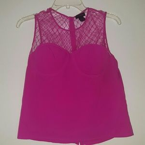 Mimmer fitted Lace hot pink tank