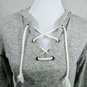 Inspire Tops - Drawstring Neckline Gray Hoodie