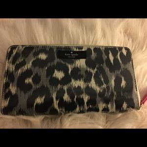 Kate spade black grey animal print wallet