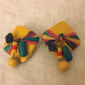 Jewelry - Beautiful One of a Kind Colorful Clip on Earrings