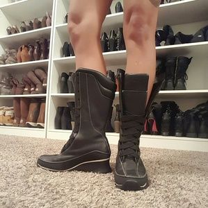 Black Laced Up Tall Wedge Timberlands