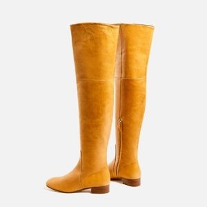 mustard yellow over the knee boots