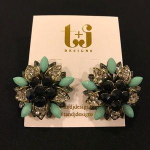 Mint & Black Crystal Flower Studs