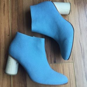 COS Powder Blue Canvas Booties Rounded Heel Sz 7