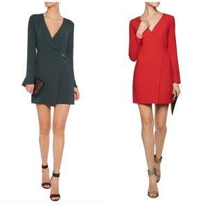 Halston Heritage Dresses & Skirts - Halston Heritage Green Wrap-effect Crepe MiniDress