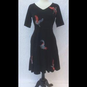 New Eshakti Black Knit Bird Flounce Hem Dress L 14