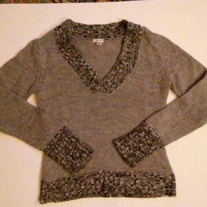 Grane Sweaters - Gray, Black, White Knitted V-neck women's sweater