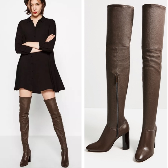 c0c258b3215 Zara Over The Knee Stretch Leather High Heel Boots. NWT