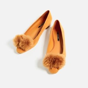 Zara Shoes - Zara leather Pom Pom ballerinas