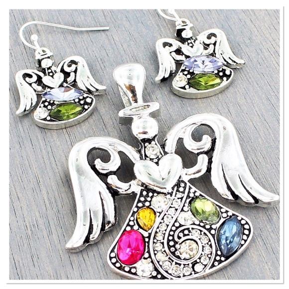 Boutique Jewelry - Jeweled Angel Pendant Set