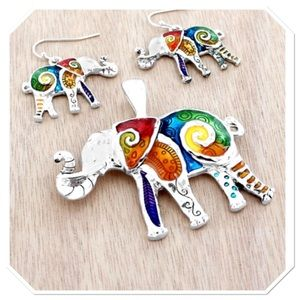 Boutique Jewelry - Rainbow Swirl Elephant Pendant Set