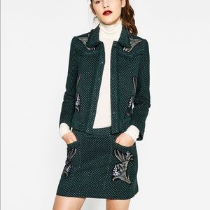 Zara green printed leather set with embroidery