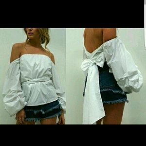 Tea n Cup Tops - 🎀WHITE CANOPY WRAP BLOUSE