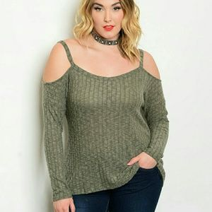 Sweaters - ONLY 2 LEFT Olive Plus Size Cold Shoulder Sweater