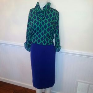 Navy blue and green top