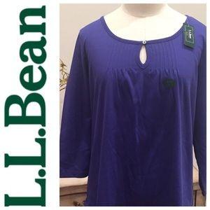NWT L.L. Bean Blue Blouse Top