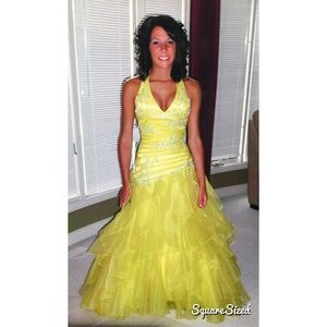 Alyce Paris Dresses & Skirts - Alyce Designs Electric Yellow Beaded Prom Dress-2