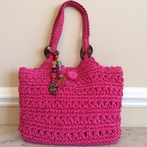 Kelly & Katie Handbags - Kelly and Katie Pink Straw Purse, Charms. NWOT.