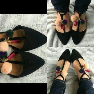 Shoes - Pom Pom Flats size 9 NIB