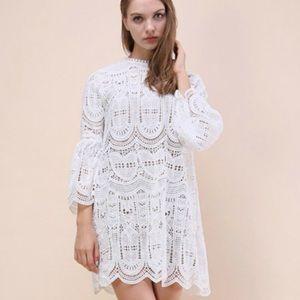 NWT ChicWish White crochet dress