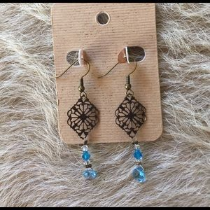 Anthropologie Jewelry - Handmade antique turquoise crystal drop earrings