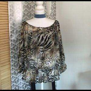 allison taylor Tops - Sheer animal print long sleeve top