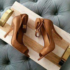 Badgley Mischka Shoes - NWOT Badgley Mischka Bronze Peep Toe Jewl  Pump