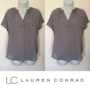 | Lauren Conrad | Gray Polka Dot Silky Blouse