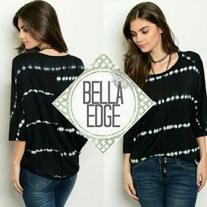 Bella Edge Tops - Black white tie dye knit dolman sleeve top