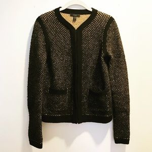 Black & tan wool J. Crew button-down sweater