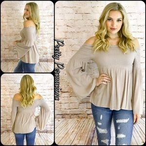 NWT Taupe Long Bell Sleeve Off Shoulder Top