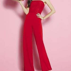 NY&Company Pants - Strapless Lace Accent jumpsuit