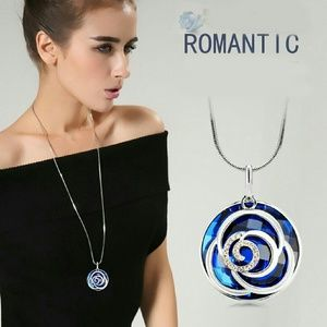 Chain with Rose pendant with blue blue stone