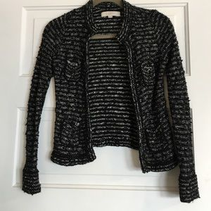 LOFT Black and White Tweedy Sweater Jacket XXSP