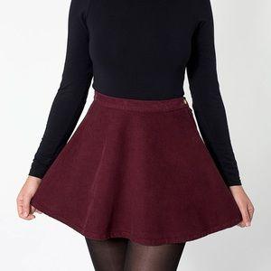 AA burgundy dark red corduroy circle skirt