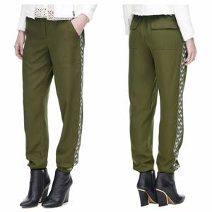 Rebecca Taylor Green Twill Embroidered Pants