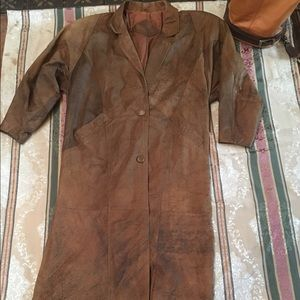Vintage long leather  jacket