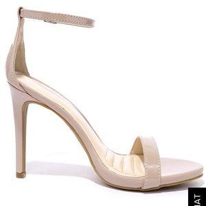 LULUS.COM Patent Nude Ankle Strap Heels