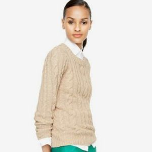 J Crew Marled Oatmeal Cable Knit Sweater