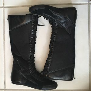 PunkRose Knee High Combat Sneaker Boots