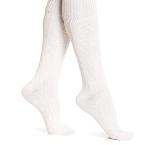 Accessories - Cable Knit Knee High Socks in Oatmeal
