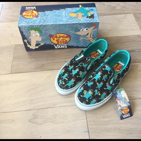 ffb3bf38b1b Brand New Boys Phineas   Ferb Slip On Vans Size 2